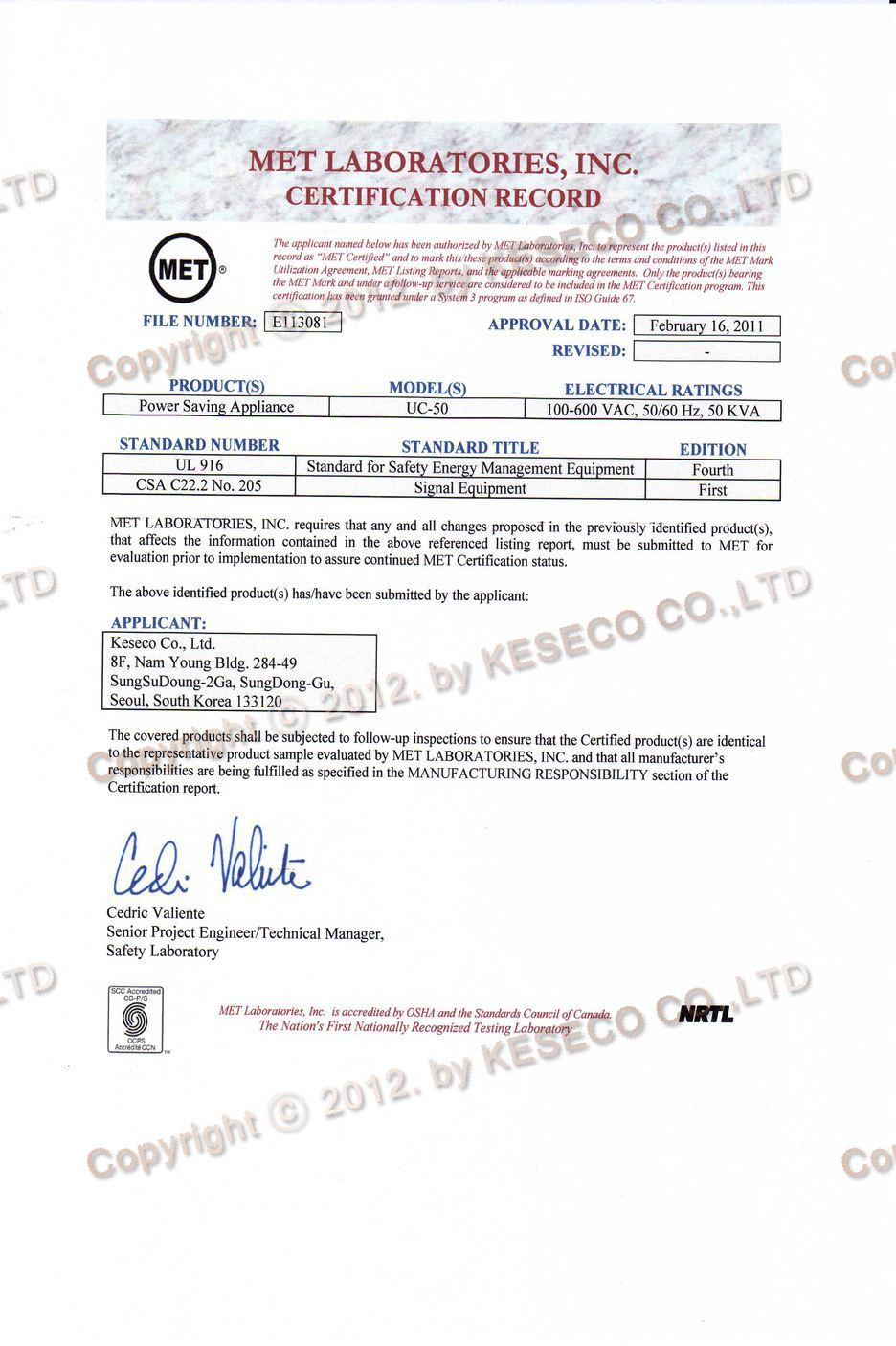 safety met safety certificate authorized test institution by nrtl uc 50 certificate test applying ul american standard csa canadian standard xflitez Choice Image